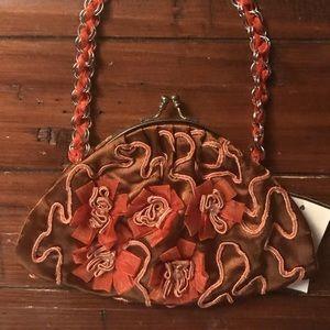 NWT Handmade Silk Beaded Flower Bag Designer